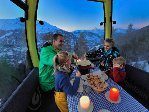 Fondue in the cable car