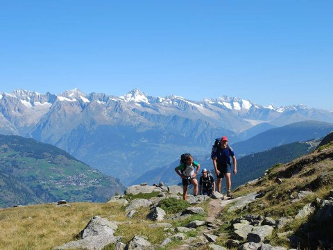 Hikers on the Europaweg to Zermatt